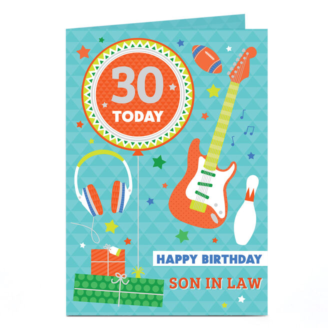 Personalised Any Age Birthday Card - Son In Law, Guitar