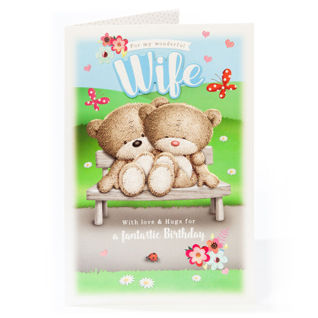 Giant Hugs Bear Birthday Card - Wonderful Wife