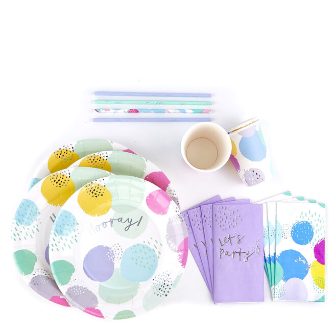 Pastel Pop Party Tableware Bundle - 80 Pieces