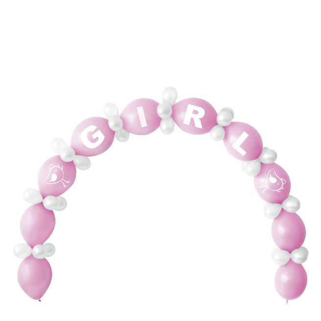 Baby Shower Girl Balloon Chain & Figures Kit - 64 Balloons