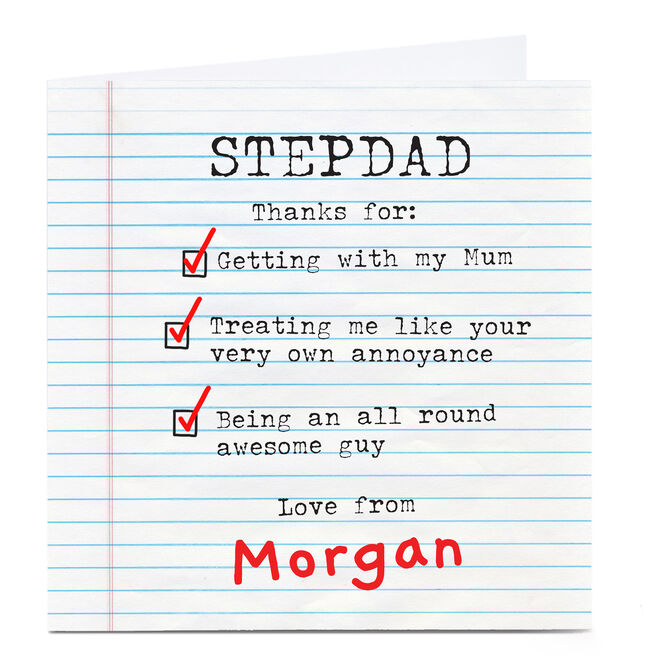 Personalised Father's Day Card - Stepdad Checklist