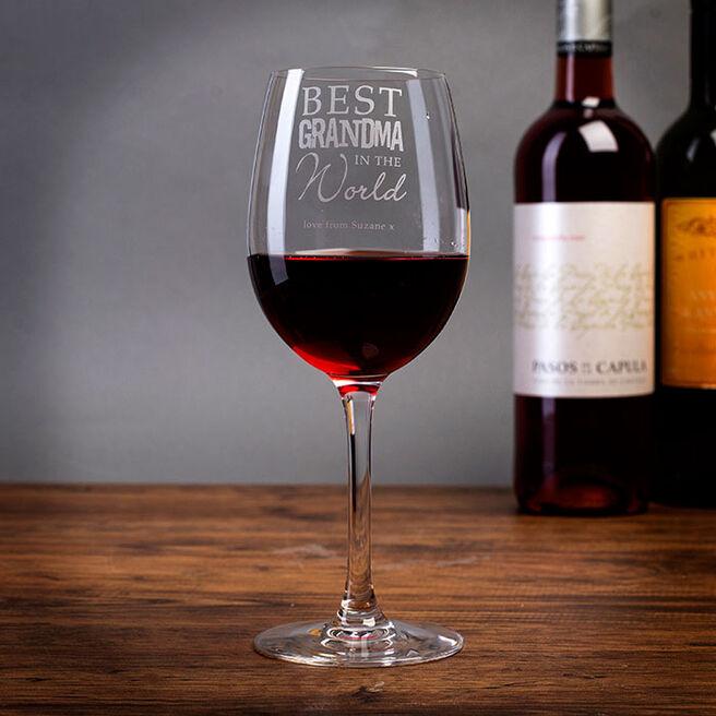 Personalised Best Grandma In The World Wine Glass