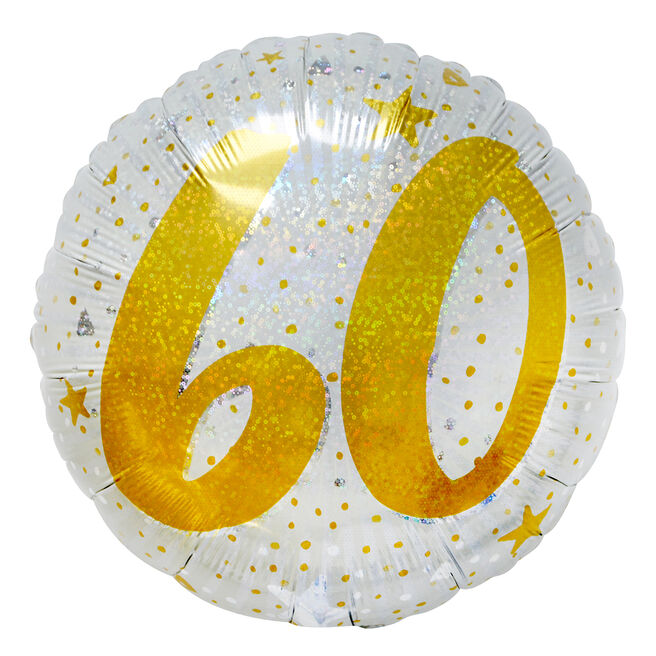 Gold & Silver 60th Birthday 18-Inch Foil Helium Balloon