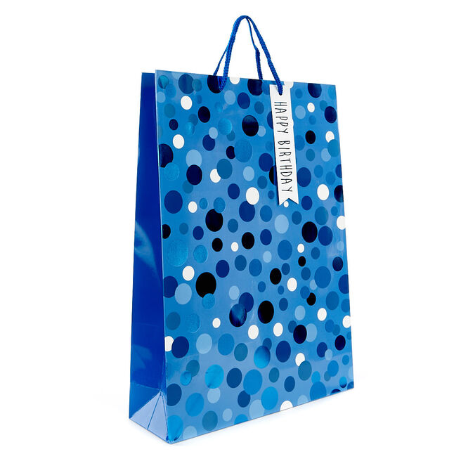 Large Blue Polka Dot Birthday Gift Bag
