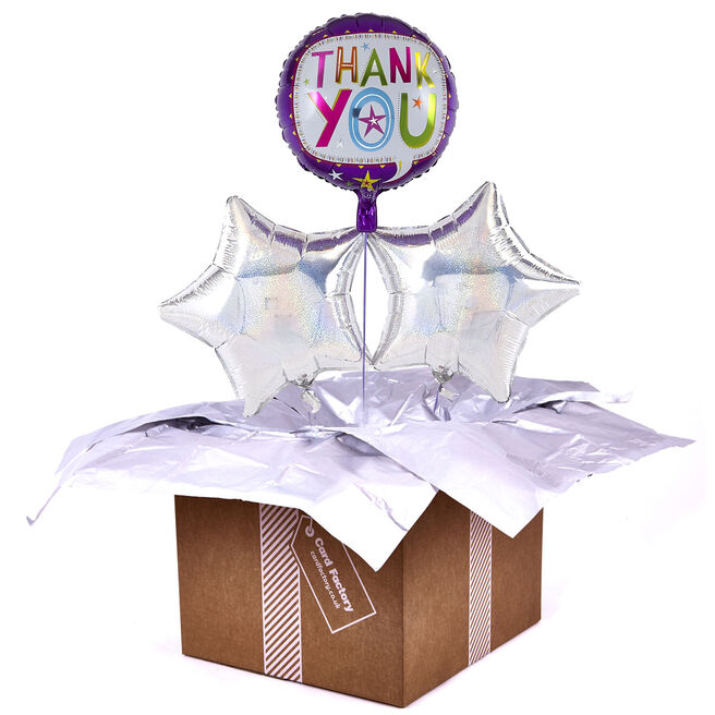 Purple Thank You Balloon with Silver Balloon Bouquet - DELIVERED INFLATED!