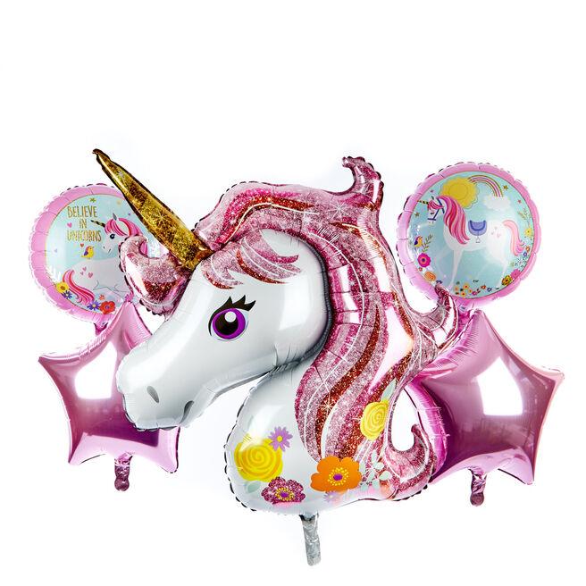 Unicorn Foil Birthday Balloon Bundle (Deflated)