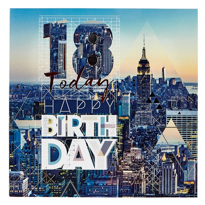 Platinum Collection 18th Birthday Card - New York Skyline