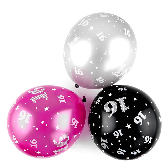 Pink 16th Birthday Balloons - Pack Of 6