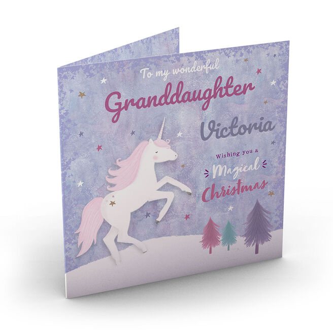 Personalised Christmas Card - Magical Unicorn, Granddaughter