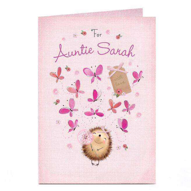 Personalised Card - Hedgehog & Butterflies
