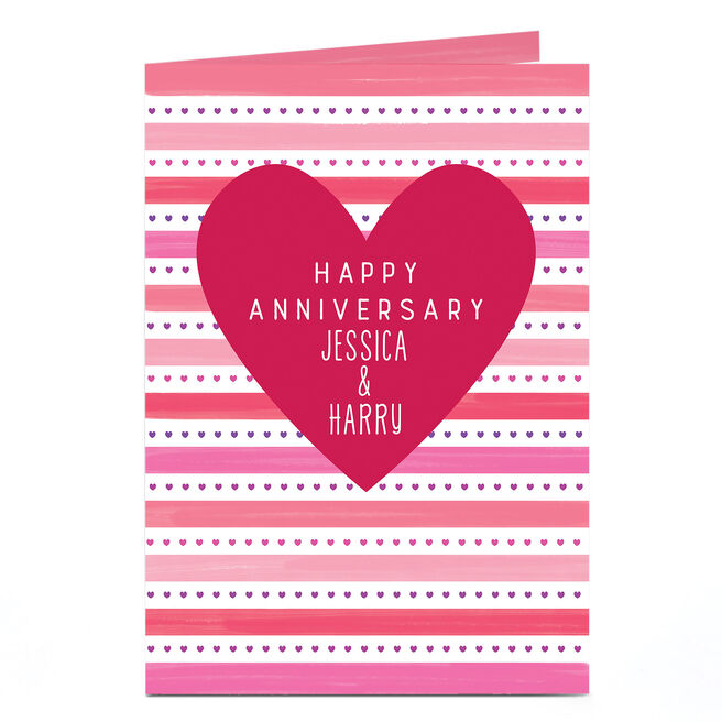Personalised Anniversary Card - Love Heart Stripes