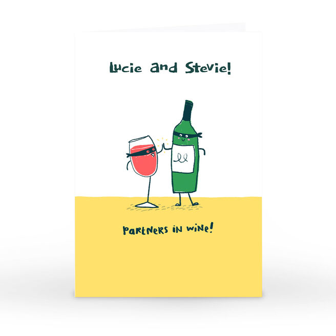 Personalised Hew Ma Card - Partners In Wine!