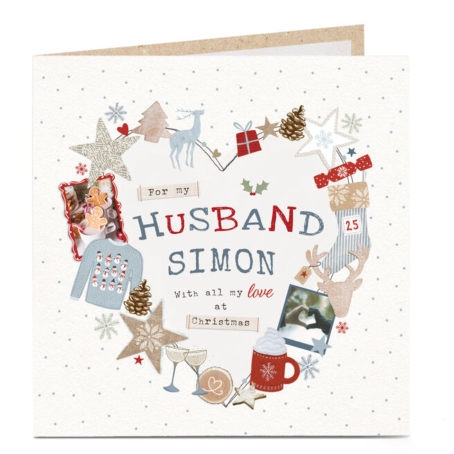 Personalised Christmas Card - Festive Heart Husband