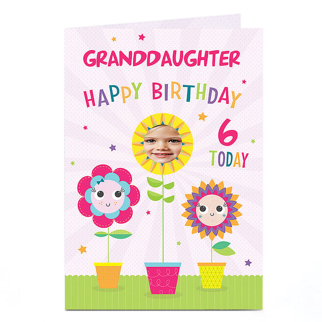 Photo Any Age Birthday Card - Flowerpots Granddaughter