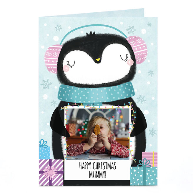 Photo Christmas Card - Penguin Polaroid