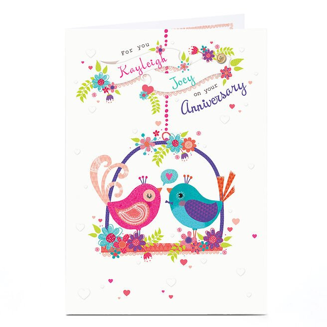 Personalised Anniversary Card - Love Birds