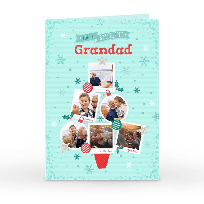 Photo Christmas Card - Blue & Red Christmas Tree 6 Photos, Grandad