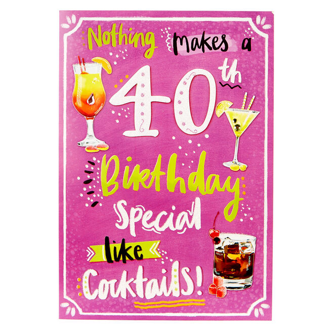 40th Birthday Card - Cocktail Recipes
