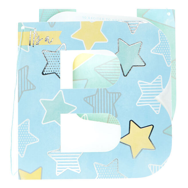 Boutique Collection New Baby Card - Boy Bunting