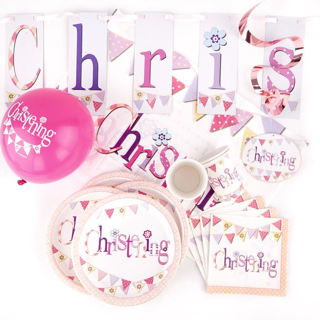 Pink Christening Party Tableware & Decoration Bundle - 77 Pieces