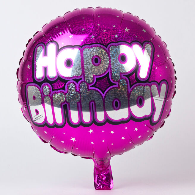 Holographic Pink Happy Birthday Foil Helium Balloon