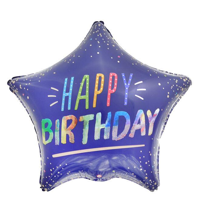 Blue Star Happy Birthday 19-Inch Foil Helium Balloon