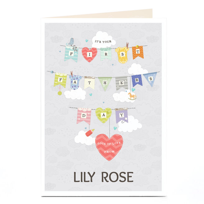 Personalised Father's Day Card - First Father's Day Bunting
