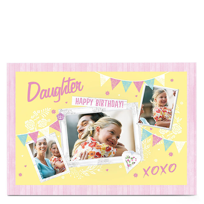 Photo Birthday Card - Pastel Bunting, Any Relation