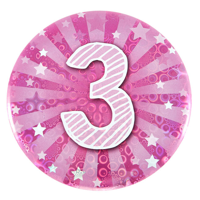 Giant 3rd Birthday Badge - Pink