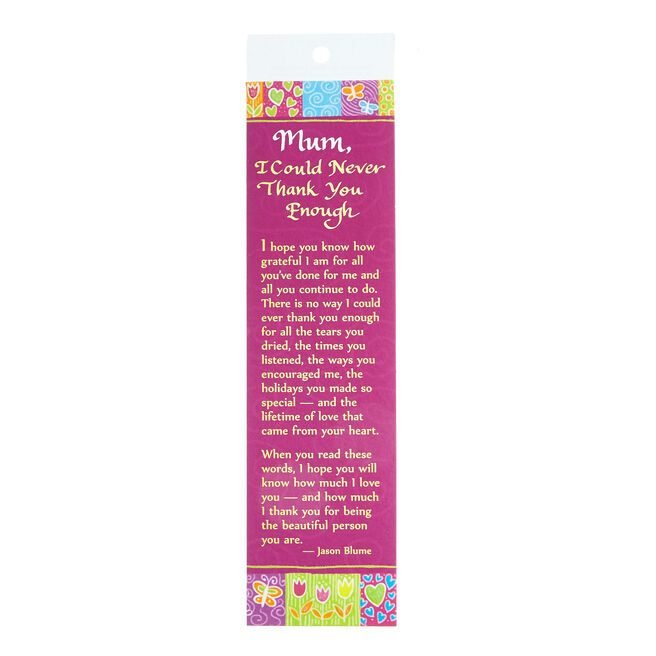 Blue Mountain Arts Bookmark - Mum, Thank You
