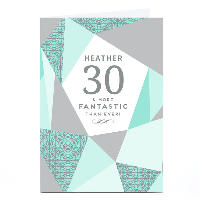 Personalised 30th Milestone Age Card - Geometric Mint