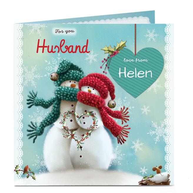 Personalised Christmas Card - Husband Snow Couple