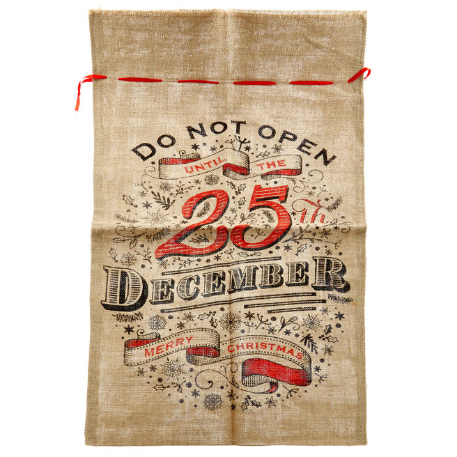 Hessian 25th December Christmas Sack