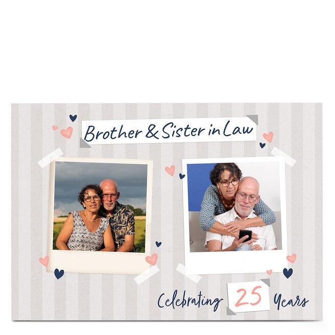 Photo Anniversary Card - Stripes & hearts, 25 Years