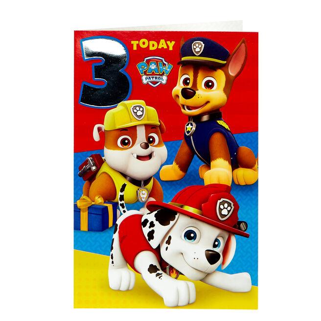 Paw Patrol 3rd Birthday Card