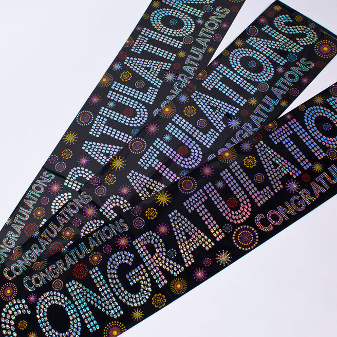 Holographic Black Congratulations Foil Banners - Pack of 3