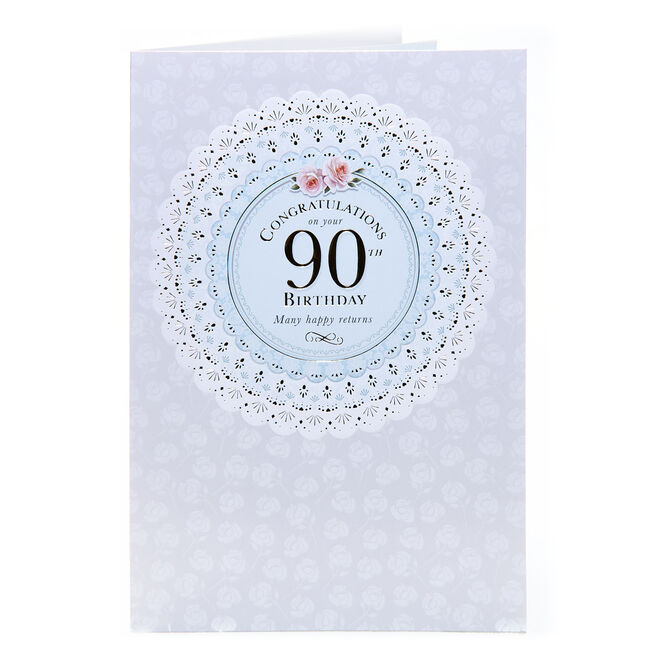 90th Birthday Card - Many Happy Returns