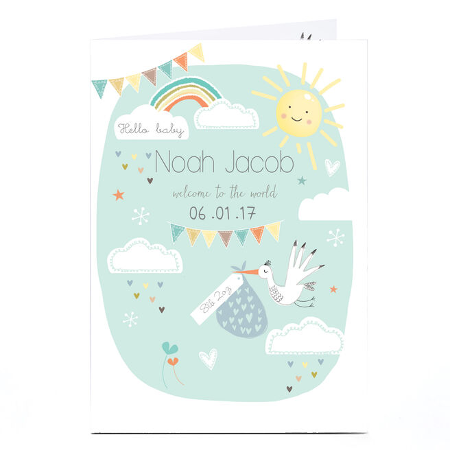 Personalised New Baby Card - Stork & Rainbow, Mint Green
