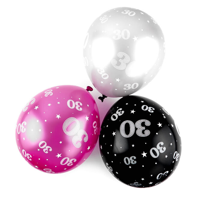 Pink 30th Birthday Balloons - Pack Of 6