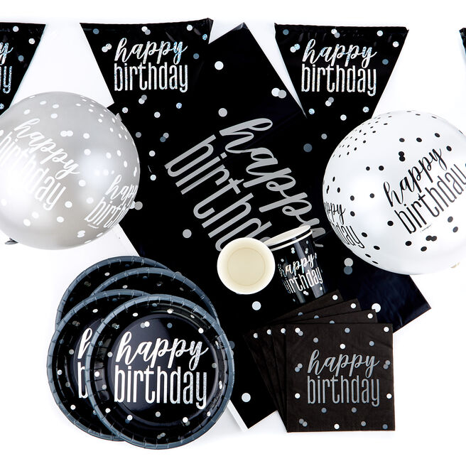 Black Happy Birthday Party Tableware & Decorations Bundle - 78 Pieces