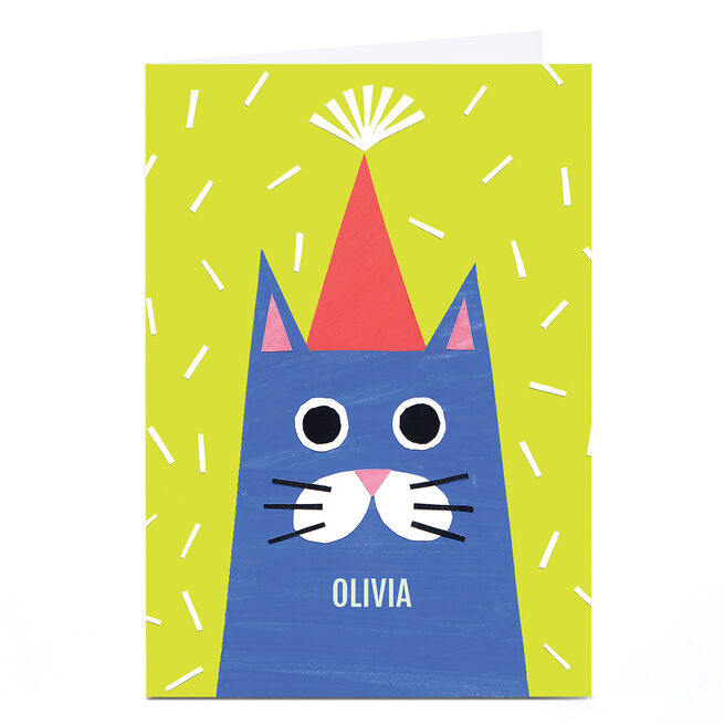 Personalised Art Kids Card - Cat In Party Hat