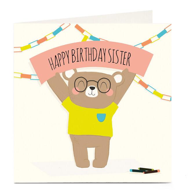 Personalised Birthday Card - Bear & Banner, Sister