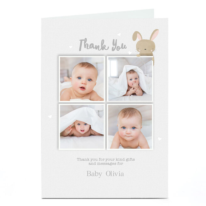Photo New Baby Card - Thank You Bunny
