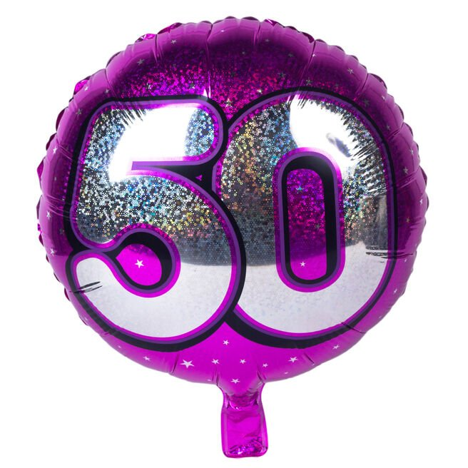 Holographic Pink Age 50 Foil Helium Balloon