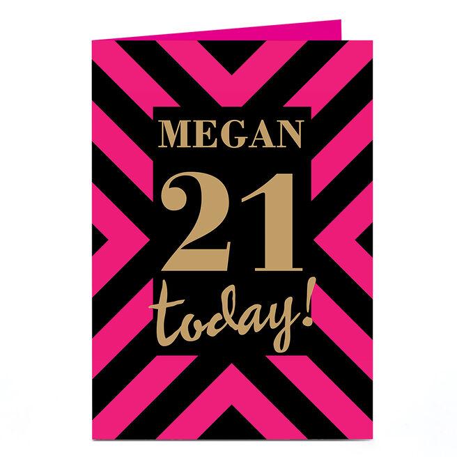 Personalised 21st Birthday Card - Pink & Black Stripes