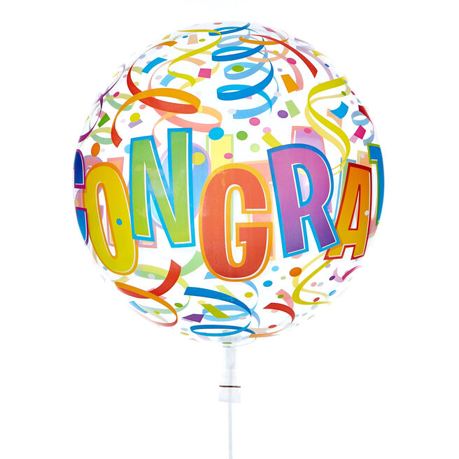 22-Inch Bubble Balloon - Congratulations - DELIVERED INFLATED!