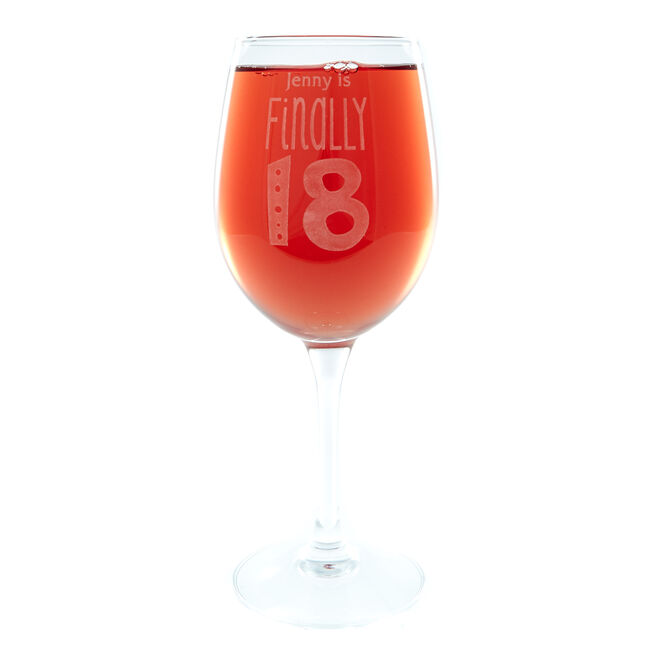 Personalised Finally 18 Wine Glass