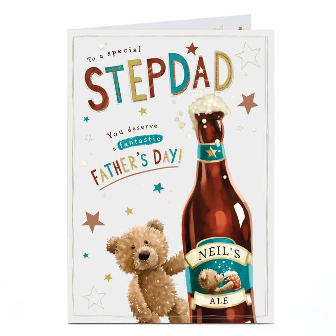 Personalised Father's Day Card - Stepdad's Beer