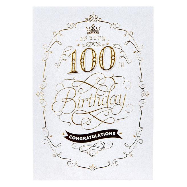 100th Birthday Card - Congratulations