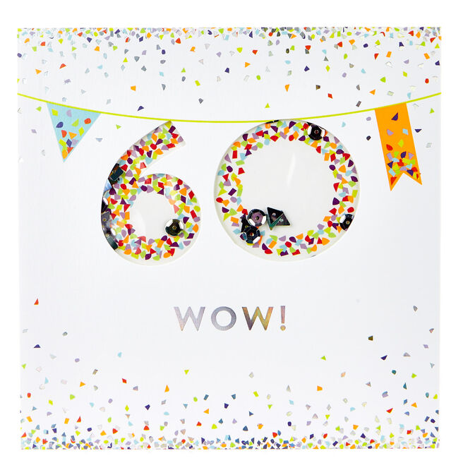 VIP Collection 60th Birthday Card - Neon Confetti